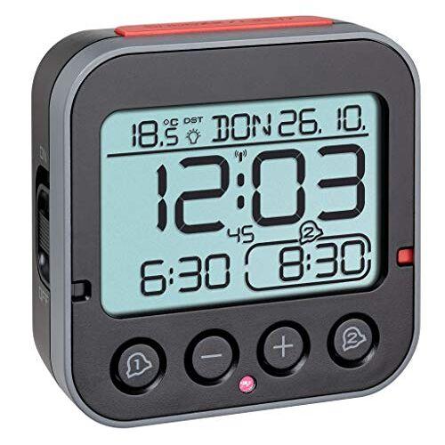 TFA Dostmann Bingo 2.0 Radiogestuurd Wekker, 60.2550.01, Digitaal, Met Temperatuur, 2 Alarmen, Met Datum En Werkdag, Zwart, (L) 95 x (B) 41 x (H) 96 mm