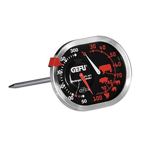 GEFU 21800 Messimo Braad- en oventhermometer, 3-in-1, van roestvrij staal, voor oven en grill, braadthermometer voor vlees