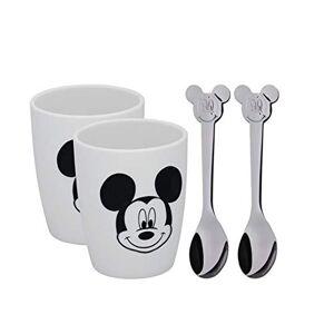 WMF Disney Mickey Mouse mokken, 2 kopjes met lepel, porselein, Cromargan roestvrij staal gepolijst