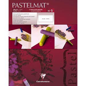 Clairefontaine 96028C tekenblok Pastelmat (bovenzijde gelijmd, 12 vellen, 24 x 30 cm, 360 g, met 4 transparante scheidingsbladen, speciaal karton ideaal voor pastel en krijt) wit