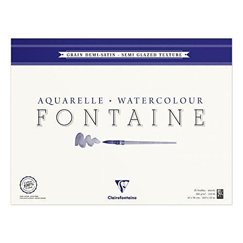Clairefontaine 96408C kleurblok, 4-zijdig verlijmd aquarelpapier halfgesatineerd, Fontaine/hader, 36 x 48 cm, 25 vellen, 300 g verpakking, wit