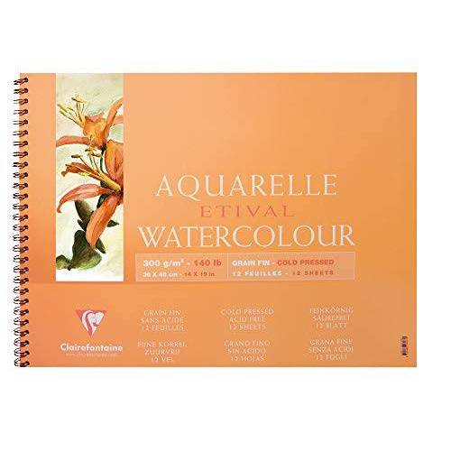 Clairefontaine 96073C kleurblok, met dubbele spiraal aquarelpapier fijnkorrelig, etival/cellulose, 37 x 46 cm, 12 vellen, 300 g, wit