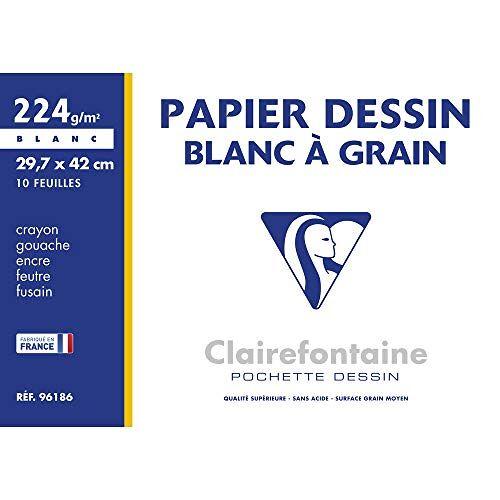 Clairefontaine 96186 map tekenpapier (224 g, 29,7 x 42 cm, 10 vellen, ideaal voor kunstonderwijs, gelijmd) wit