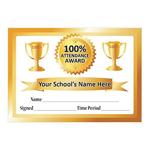School Stickers A5 100% Aanwezigheid Certificaat Goud
