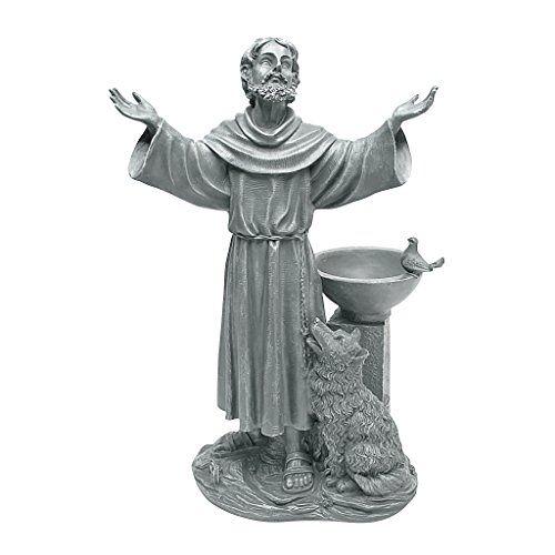 Design Toscano JE14106 St. Francis' zegen religieuze tuin decor beeld met vogelbad vogelvoer, 48 cm, polyresin, Greystone, groen