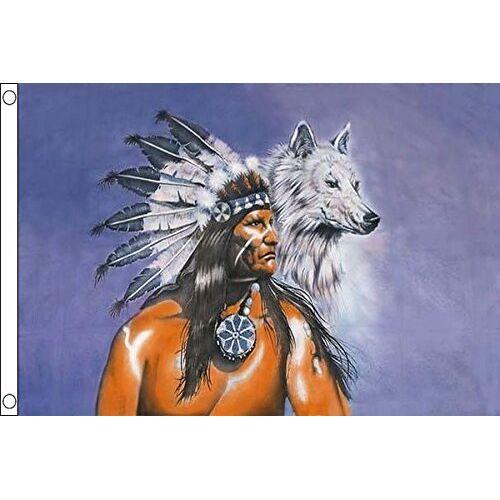 AZ FLAG Indiaas met wolfsvlag 150x90 cm Inheemse Amerikaanse vlaggen 90 x 150 cm Banner 3x5 ft Hoge kwaliteit