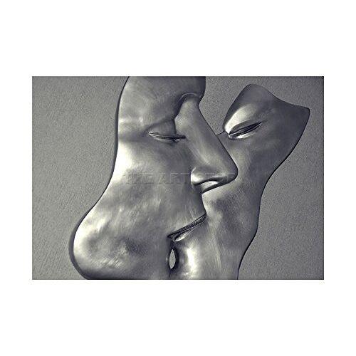 Wee Blue Coo Foto Beeldhouwkunst Installatie Metalen Man Vrouw Kus Foto Muur Art Print
