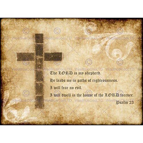 Bumblebeaver PSALM 23 HEERE SHEPHERD CROSS CHRISTISCHE RELIGIEUZE QUOTE TYPOGRAFIE POSTER QU115