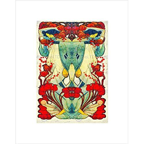 Wee Blue Coo Schilderen Abstracte Ontwerp Nieuwe Twee Vrouwen Bloemen Bloemen Muur Art Print
