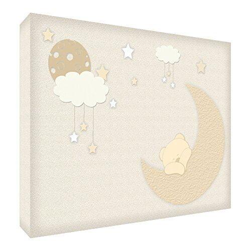 ART BEARMOON-A7BLK-01ES decoblok voor baby's, motief slaapbeer, 7,4 x 10,5 x 2 cm, beige