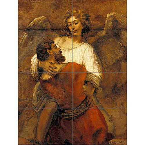 Artery8 Rembrandt Jacob worstelen met de Angel XL Giant Panel Poster (8 Secties)
