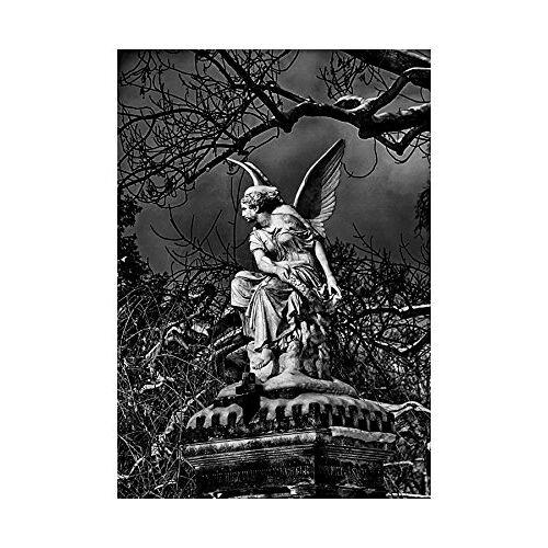 Wee Blue Coo foto Beeldbeeld Beeldhouwkunst Engel Vleugels Griezelig Zwart Wit Muur Art Print