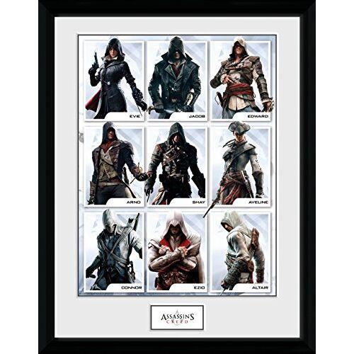 GB Eye Limited GB oog LTD, Assassins Creed, Compilatie Personages, Ingelijste Print 30x40cm, Hout, Diverse, 52 x 44 x 3 cm