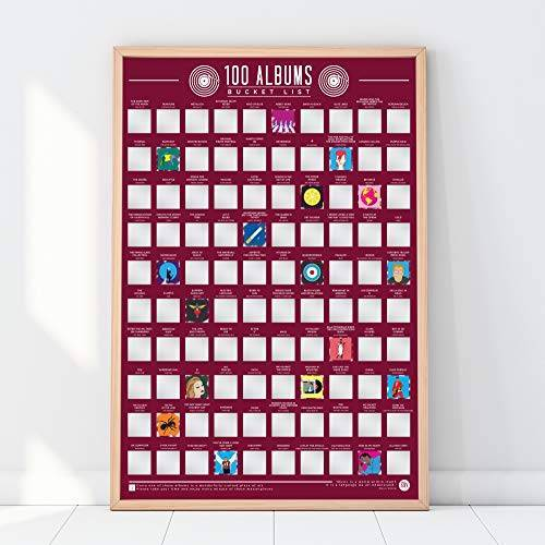 Gift Republic GR630002 100 Albums Scratch Off Bucket List Poster, Rood, 42 x 59,4 x 0,02 cm