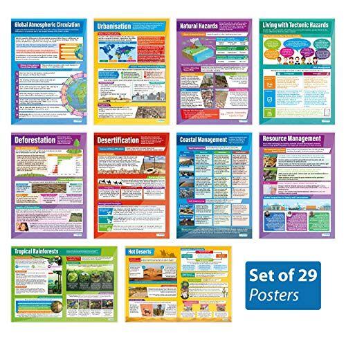 Daydream Education Geografie Posters Set van 37   Geografie Posters   Gelamineerd Glans Papier meten 850mm x 594mm (A1)   Geografie Klas Posters   Education Charts by