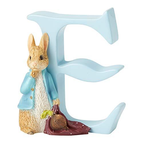 Beatrix Potter A4997 Alfabet Letter E Peter Konijn met Uien Beeldje, Blauw