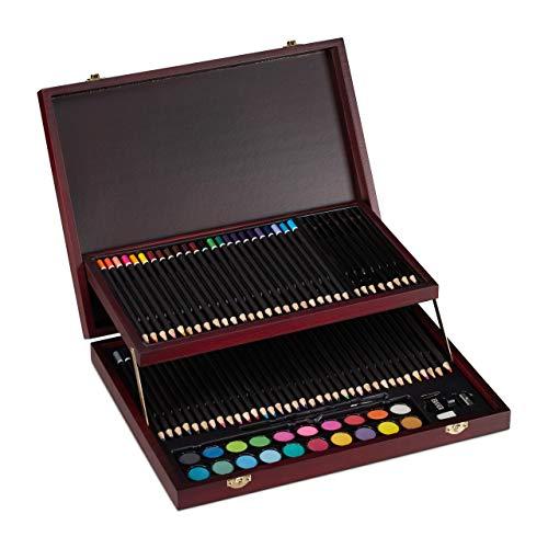 Relaxdays Schilderkoffer, 73-delig Tekenset hout, kleurpotloden set, potloden, waterverf, puntenslijper & gum, bordeaux