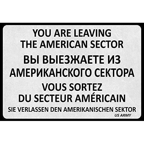 Schatzmix Spreuk u verlaten Amerikaanse sector metalen bord 20x30 deco metalen bord, blik, meerkleurig, 20x30 cm