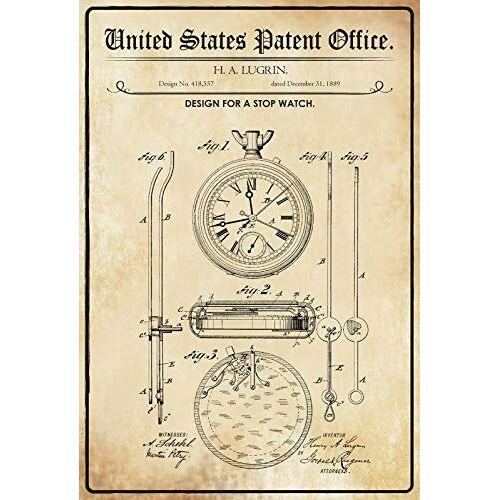 Schatzmix Patent voor een Stop klok metalen bord 20x30 deco tin Sign metalen bord, blik, meerkleurig, 20x30 cm