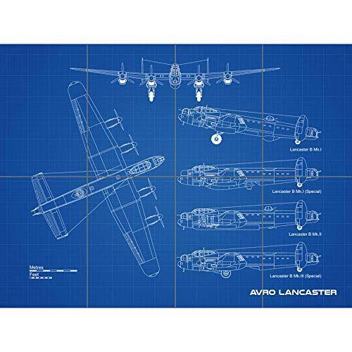 Artery8 Avro Lancaster bommenwerper vliegtuig blauwdruk plan XL gigantische paneel poster (8 secties)