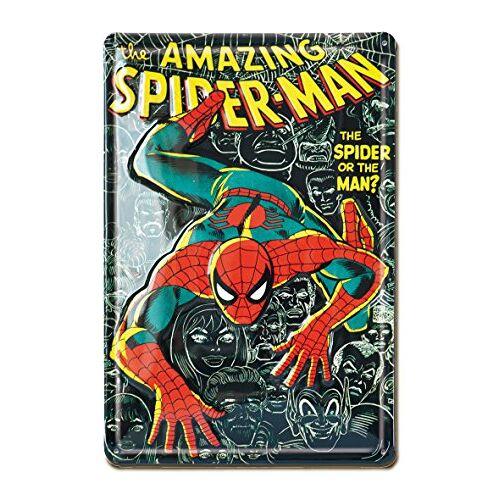 Marvel blikken bord, metaal, zwart, 30 x 20 x 1 cm
