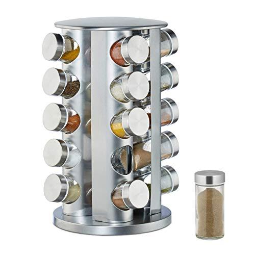 Relaxdays Kruidencarrousel met 20 kruidenpotjes, 360 graden draaibaar, kruidenpotjes om te strooien, 34,5 cm hoog, roestvrij staal, zilver