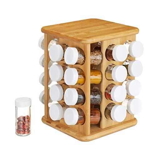 Relaxdays XXL Kruidencarrousel, draaibaar, 32 kruidenpotjes, aromadichte opslag, kruidenorganizer, bamboe, naturel