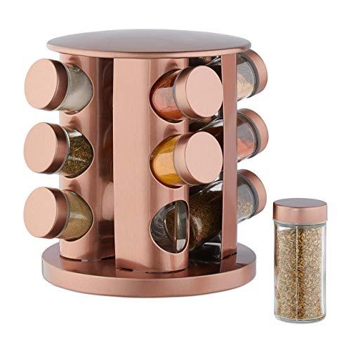 Relaxdays Kruidencarrousel met 12 kruidenpotten, 360 draaibaar, doorzichtige kruidenpotjes om te strooien, roestvrij staal, koper