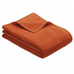 IBENA Porto knuffeldeken 150x200 cm wollen deken oranje eenkleurig, onderhoudsvriendelijke katoenmix, knuffelzacht en aangenaam warm