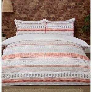 Sleepdown Aztec Geo Stripe Terracotta Oranje Natuurlijke Boho Omkeerbare Zachte Gemakkelijk te onderhouden Dekbedovertrek Quilt Beddengoed Set met Kussensloop Eenpersoons (135cm x 200cm)