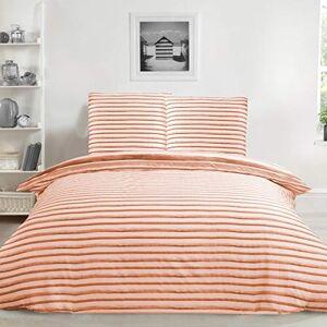 Sleepdown Aquarel Streep Oranje Roest Ultra Soft Easy Care Hypoallergeen Gedrukt Omkeerbaar Dekbedovertrek Quilt Beddengoed Set 155cm x 220cm + 2 Kussenslopen 80cm x 80cm