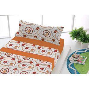 SABANALIA Flanellen beddengoedset, verkrijgbaar in verschillende maten en kleuren, oranje, voor bedden met een breedte van 80 cm