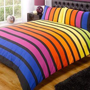 Rapport Soho Multi Stripe Dekbedovertrek Quilt Bedding Set, Blauw Paars Oranje Geel Groen, Dubbel Size Slaapkamer Bed Linnen by