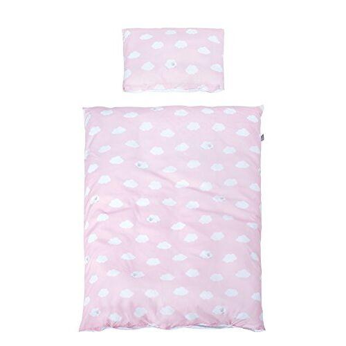 roba Beddengoed 2-delig, collectie 'Kleine Wolke roze', kinderbeddengoed 100x135 cm, 100% katoen, deken- en kussensloop voor baby's en kinderen