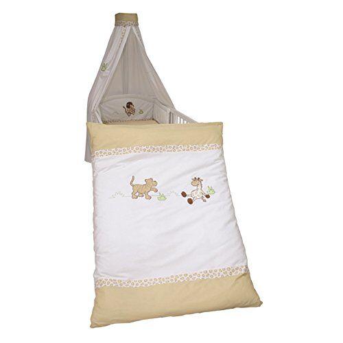 roba Beddengoed 2-delig, collectie 'Safari', kinderbeddengoed 100x135 cm, 100% katoen, deken en kussensloop voor baby's en kinderen met uitgebreide applicatie