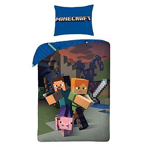 Euromat Character World 'Minecraft beddengoed kinderen beddengoed 140x200 cm (Oeko Tex Standard 100)