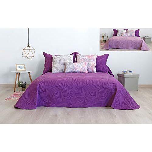 Secaneta Stilia sprei, omkeerbaar, tweekleurig, ultrasonic 3D-effect, voor lente zomer, (violet/mauve, 200 x 270 cm, 105 cm bed), 200 x 270 cm