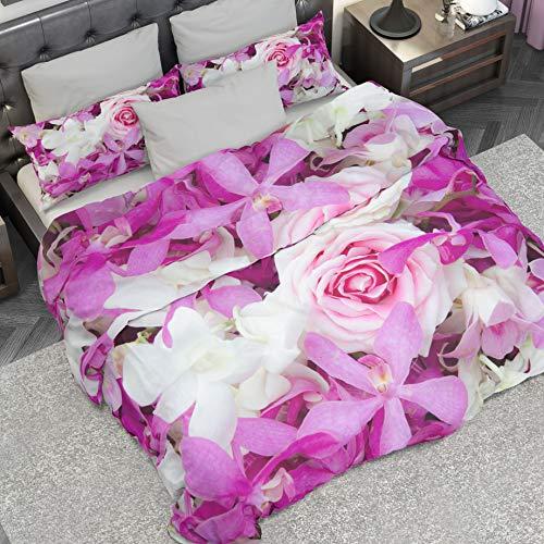 PETTI Artigiani Italiani Dekbedovertrekken, paarse bloemen, 155x200