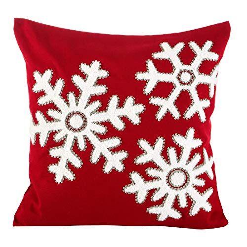 Eurofirany kussenslopen kussenslopen sofakussenslopen kerstmis decoratiekussen dubbelpak set van 2 kussenslopen decokussen, rood, 45x45cm