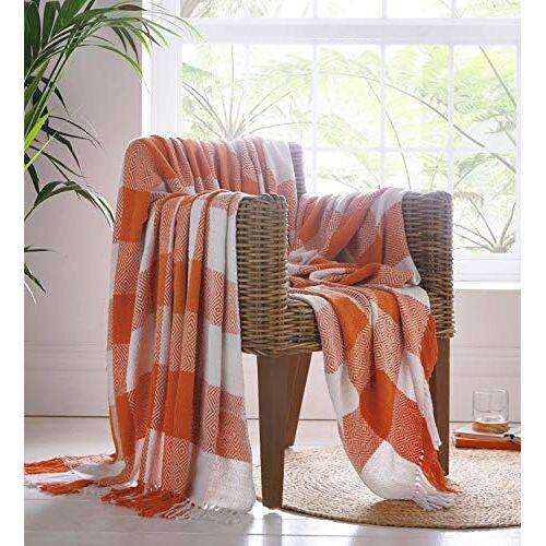 Portfolio Epsom gooien deken voor bedstoel bank, katoen, terracotta, 130 x 170cm
