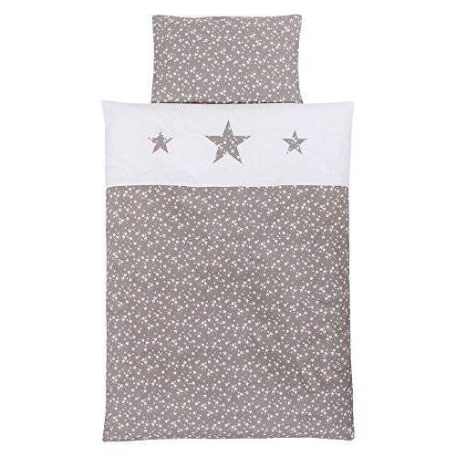 Babybay Piqué beddengoed voor babybedje, Taupe Stars wit, Multi Color, One Size