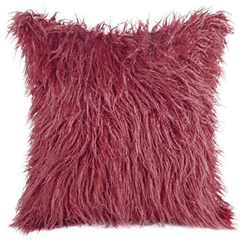 Eurofirany Kussensloop, kussensloop, sofakussen, bedkussen, kamerdecoratie, elegant, exclusief imitatiebont, pluizig, behaaglijk, bordeaux, 45 x 45 cm, 2 stuks