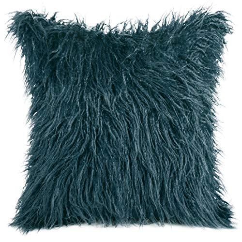Eurofirany Kussensloop, kussensloop, sofakussen, bedkussen, kamerdecoratie, elegant, exclusief imitatiebont, pluizig behaaglijk, marineblauw, 45 x 45 cm, 2 stuks