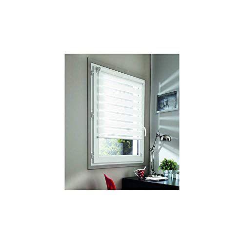 madecostore dubbel rolgordijn met oprolmechanisme, dag/nacht, wit, 45 x 100 cm bevestiging met of zonder boren ketting passend