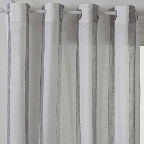 Homemaison gordijn met spel tegen krassen, polyester, grijs, 240 x 140 cm