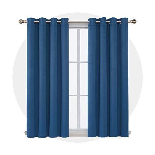 Deconovo Thermische gordijnen ondoorzichtige gordijnen, blauw, 138x140