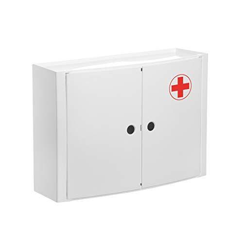 TATAY 4480209 medicijnkast, horizontaal, 2 deuren, van kunststof, wit, 46 x 15,5 x 32 cm