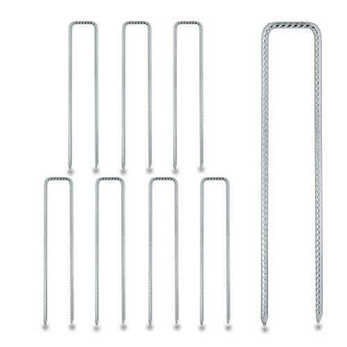 Relaxdays Grondankers, 8-delige set, grondankers voor vlies, hekken, tenten, U-vorm, stabiel, verzinkt staal, h x b x d 41 x 8 x 1 cm, zilver