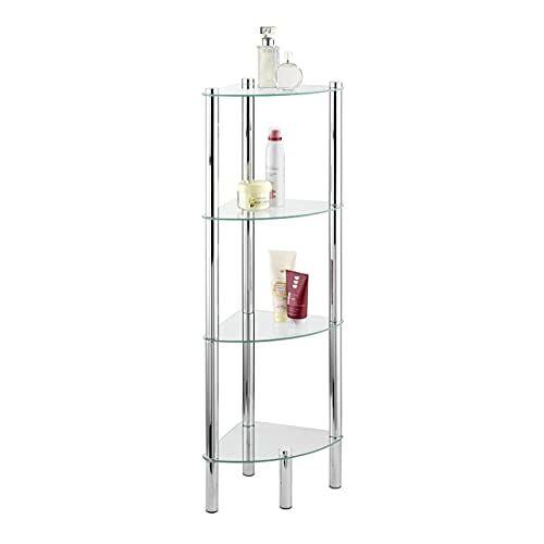 Wenko hoekplank Yago glazen planken badkamerrek, staal 4 Etagen zilver