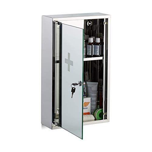 Relaxdays , zilveren medicijnkastje van roestvrij staal, afsluitbare spiegeldeur, 2 vakken, medicijnkast, h x b x d: 50 x 30 x 11 cm